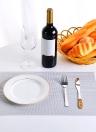 12 * 18 pollici PVC resistente al calore tessuto placemat anti-macchia anti-skid lavabile tavolo da pranzo tavolini placemats - set di 4 rosso bianco