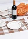 12 * 18 polegadas PVC resistente ao calor Plaid Woven Placemat resistente a manchas antiderrapante lavável mesa de jantar lavável Placas de mesa - Conjunto de 4 preto