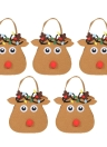 5pcs / set Christmas Candy Bags Gift Wrap Pocekts Sacs X'mas Décorations Ornements - Reindeer