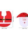 Soft Polyester Christmas Toilet Seat Cover + U-shaped Anti-slip Bathroom Rug Bathmat Set Christmas Decorations Ornaments--Santa Claus