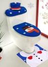 3pcs / set Décorations de salle de bain de Noël Housse de siège de toilette + Tapis en forme de U + Housse de réservoir et housse de boîte en tissu Décorations de Noël