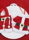 3 Sets of Christmas Santa Suit Coats Pants Style Cutlery Holders Fork Knife Spoon Bags Pocekts Set Christmas Decor Oranments