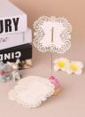 La carta mini carta della perla di 10pcs / set ha tagliato le carte del numero di tabella delle carte per la decorazione del banchetto del partito di cerimonia nuziale - Numero 1-10 Bianco