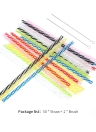 50pcs/set Rainbow Color Striped Plastic Drinking Straws Reusable Straws with Cleaning Brushes for Birthday Wedding Pool Party Decorations Supplies