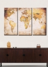 35 * 70cm HD Printed 3-Panel Frameless World Map Canvas Painting Wall Art Pictures Decor for Hallway Living Room Bedroom