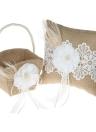 4pcs / set Rustico Vintage Rifornimenti di Nozze Flower Girl Basket + 7 * 7 pollici Ring Bearer Pillow + Guest Book + Set portapenne