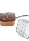 Batterie de cuisine carrée en aluminium cuivré Cuisine antiadhésive Chef Kit de cuisson Chauffage plus rapide Lave-vaisselle Coffre-fort
