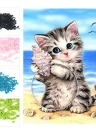 NAIYUE DIY 5D Kit de pintura de diamante Padrão de gato Rhinestone Mosaic Bordado Cross Stitch Craft Home Wall Decor