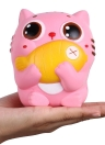 Exquisite Fun Soft Cat Cartoon Squishy Slow Rising Squeeze Toy Phone Straps Ballchains Simulation Kawaii Squishies Cream Scented Fidget Toys for Kids and Adults Cat with Fish