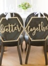 Wood Chair Banner Set Chairs Signs for Rustic Wedding Decorations Engagement Party Supplies Style 1 Better & Together