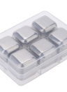 6Pcs Reusable Stainless Steel Cooler Set Wine Drinks Cooling Chilling Cube with Plastic Storage Case