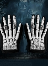 Full Finger Horror Skeleton Gloves Ghost Skull Bone Gloves Costume for Halloween Cosplay Role Play for Adults Teens