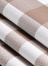 12 * 18 дюймов ПВХ жаростойкий Plaid Woven Placemat Пятностойкие противоскользящие моющиеся коврики для обеденного стола Placemats - комплект из 4-х черных