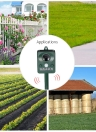 Solar Powered Ultrasonic Pest Animals Repeller Outdoor Animal Repellent for Repelling Raccoons Cats Dogs Birds with Flashing LED Frequency Adjustable