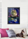 12 * 16 inches/30 * 40cm DIY 5D Diamond Painting Kit Wolf and Moon Pattern Resin Rhinestone Mosaic Embroidery Cross Stitch Craft Home Wall Decor