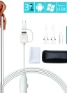 3-in-1 USB Ear Cleaning Earpick Endoscope LED Light Multifunctional Borescope Inspection Camera 0.3MP Visual Ear Spoon Health Care Cleaning Tool Earwax Clear Remover Tools Ear Cleaner for OTG Android Micro USB PC