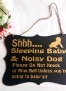 Wall Hanging Ornament Painted Wood Decorative Shhh Baby Sleeping Door Sign Black Decoration for Home Party Supply Style 2