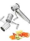 Acero inoxidable Manual Rotary Queso Grater Slicer Quesos de uso múltiple Zanahorias Pepinos Cutter Shredder con 3 tambores intercambiadores