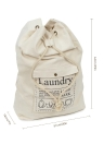Large Drawstring Cotton Canvas Laundry Bag Dirty Clothes Storage Bag with Adjustable Shoulder Strap for Home Laundromat Travel