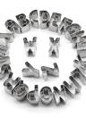 26 unids letras del alfabeto de acero inoxidable cortadores de galletas diy 3d galletas moldes mini a-z herramientas de decoración del molde en forma de bakware cocina fondant herramientas de decoración