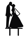 Classy Romantic Wedding Cake Topper High Quality Acrylic Bride & Groom Silhouette Adorable Party Wedding Decoration
