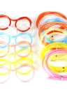 Creative Fun Eyeglasses Straw Crazy Design DIY Silly Transparent Funny Stylish Cartoon Plastic Gift for Kids