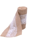 Vintage Jute Burlaps With Lace Roll for Wedding Decoration in Table Runner Party Chair Sashes Home Decoration