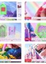 Diamond Painting Cross Stitch Craft Color Cat Face Artwork DIY 5D Round Diamond Embroidery Home Decoration