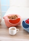 Lazy Bear Design Double Layer Fruit Plate with Cellphone Stand Holder Snacks Seeds Dish Container Storage Box Style 4 White Black