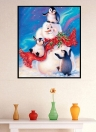 Wall Decoration Painting Snowman and Penguin in the Snow Handmade Diamond Painting for Christmas Gift