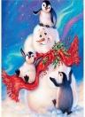 Wanddekoration Malerei Schneemann und Pinguin im Schnee Handgemachte Diamantmalerei für Weihnachtsgeschenk