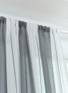 39 * 79 inches Cotton Linen Semi-Blackout Stripe Pattern Window Curtain Panel Living Room Bedroom Hotel Divider Voile Curtain with Rod Pocket