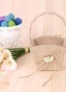 Vintage Rustic Wedding Burlap Flower Girl Basket with Wooden Heart Decoration Wedding Supplies