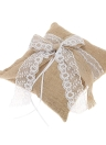 7 * 7 inches Vintage Burlap Lace Bowknot Ring Bearer Pillow and Rustic Wedding Flower Girl Basket Set