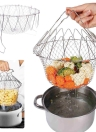 1 Pcs Home Kitchen Foldable Fry Basket Poaching Boiling Deep Frying Fruit Vegetable Rinsing Washing Cook Tool 201 Stainless Steel