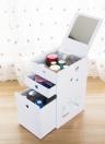 BRICOLAGE Blanc Bureau 3-Tiroirs Maquillage Organisateur Boîte De Rangement De Bijoux Cosmétique Titulaire avec Miroir Acrylique