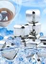 8pcs riutilizzabili in acciaio inox refrigerante Set vino beve raffreddamento agghiacciante cubo con le pinze di caso di stoccaggio di plastica