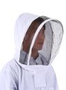 Bienenzucht Schutzausrüstung Weiße Bienenzucht Anzug mit abnehmbare runde Clear View Fechten Schleier Bienenzucht Vollkörperschaftshut Kittel XX-Large