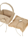 6 * 6 pouces Vintage Burlap Double Heart Ring Bearer Pillow et Rustic Wedding Flower Girl Basket Set