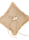 6 * 6 inches Vintage Burlap Double Heart Ring Bearer Pillow e Rustic Wedding Flower Girl Basket Set