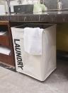 Grande pieghevole Oxford Cloth lavanderia cestino Bin Mesh Drawstring sporco stendibiancheria con maniglie 4 aste di supporto Universal Wheels