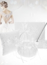 4pcs/set White Wedding Supplies Satin Flower Girl Basket + 7 * 7 inches Ring Bearer Pillow + Guest Book + Pen Holder