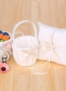 4pcs/set White Wedding Supplies Satin Flower Girl Basket + 7 * 7 inches Ring Bearer Pillow + Guest Book + Pen Holder with Starfish Decorations