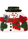 Festnight Christmas Snowman Dining Mat High Quality Table Mat Soft Double Layer Place Mat for Christmas with Napkin