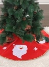 40 inches Diameter Red Christmas Tree Skirt Non-Woven Santa Calus Snowman Reindeer Pattern Christmas Tree Decorations Ornaments