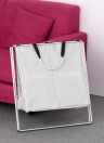 2 Sections Foldable X-frame Oxford Laundry Basket Hamper Mesh Drawstring Dirty Clothes Bin Organizer with Detachable Aluminum Frames