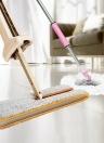 Double main libre lavage à la main de vadrouille plate Manche confortable en acier inoxydable Outil de nettoyage de poteau pour le plancher de la chambre