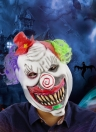 Latex Full Head Scary Toothy Clown Mask with Hat and Hair for Halloween Masquerade Costume