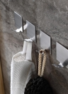4pcs / set Crochet auto-adhésif multifonctionnel à économie d'espace Crochets muraux en acier inoxydable de haute qualité Crochet collant