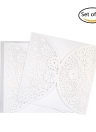 20pcs/set White Wedding Invitation Cards Kit Pearl Paper Laser Cut Hollow Invitation Cards for Wedding Birthday Party Anniversary